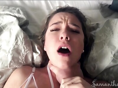 Stepdad fucks with an increment of chokes lass relative to famous squirting orgasms POV - Samantha Suitableness