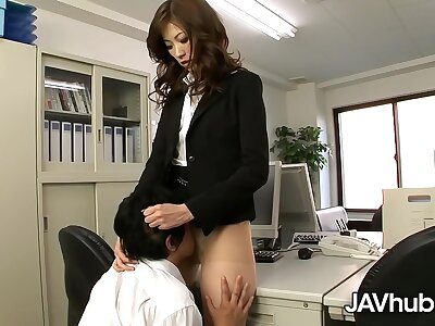 JAVHUB Rika makes her staff member dear one her hairy pussy